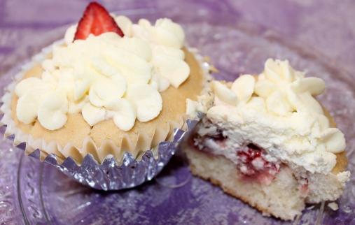 Strawberry-Poked Vanilla Cupcakes